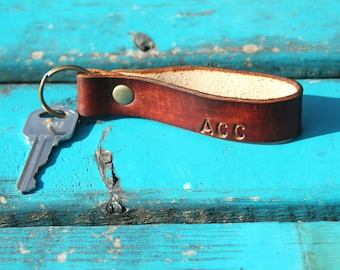 Custom Personalized Key Chain, Leather Keychain, Leather Key Ring, Key Fob, Handmade Leather Key Chain