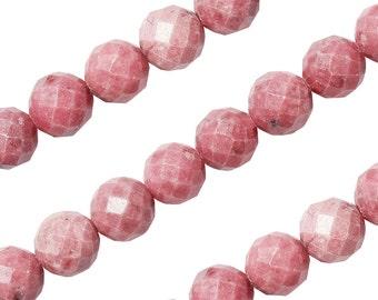 15 1/2 IN Strand 10 mm Rhodonite Round Faceted Gemstone Beads (RH100109)