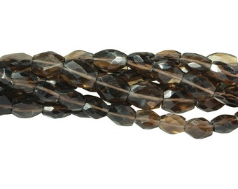 14 IN Strand 7X9 mm Smokey Quartz Uneven Faceted Oval Gemstone Beads (SM100106)