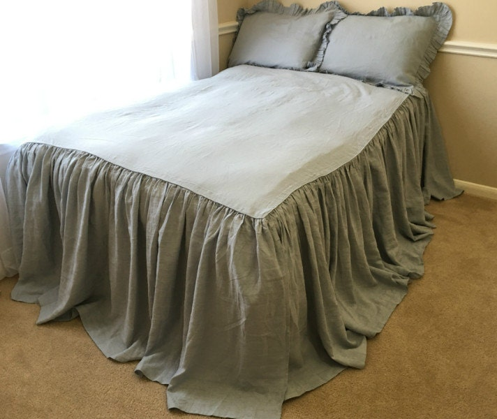 duck egg blue bedspread ruffle bedding by customlinenshandmade. Black Bedroom Furniture Sets. Home Design Ideas