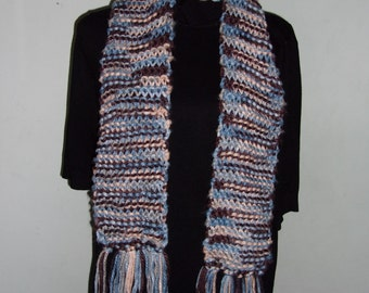 Hand Knitted Brown and Blue Knitted Scarf