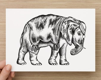 Dotwork Elephant Illustration Art Print
