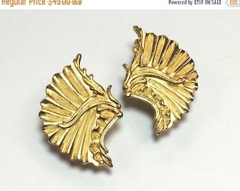 SummerSALE 60s Gold Fan Earrings | WM Jewelry Co.