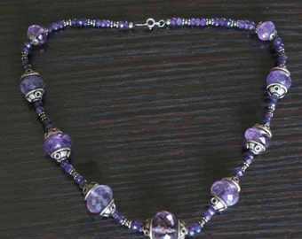 ON SALE Brilliant Amethyst Silver Necklace