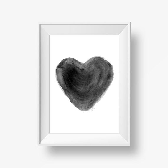 Minimalist wall watercolor heart art print printable wall for Minimalist wall decor