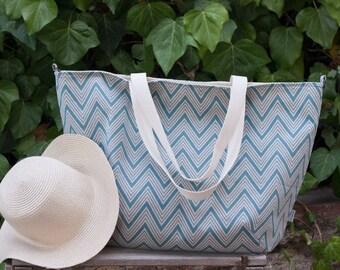 Beach bag. Chevron tote bag. Summer bag. Blue chevron bag. Weekend bag. Maxi bag. Diaper bag