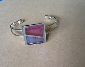 Bracelet, silver metal with mosaic tiles