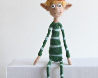 Quirky Posable Needle Felted Boy Elf