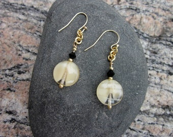 Vintage cream and clear glass earrings with jet bead