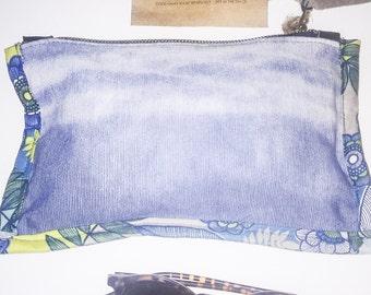 Handmade Indigo Clutch | 100%Cotton Hand Dyed | Made in Australia | Tie Dye | Leather Trim | Shibori