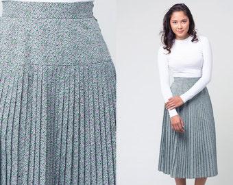 jaegar floral skirt /  green paisley skirt / pleated midi skirt / vtg 80s / s