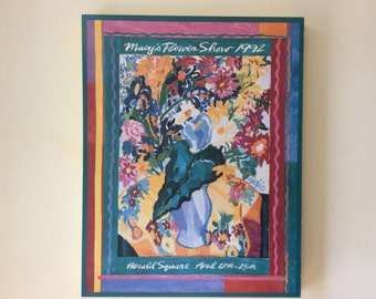 Large boho wood board mounted New York City poster of 1992 Macy's Floral Show, New York. Impressionistic floral poster by Giglio Macy's.