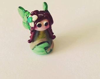 Woodland Fairy Lampwork Bead - Handmade Fairy - Artisan Fairy - Fairy Pendant - UK Handmade Glass Fairy Pendant - Glass Fairy Charm