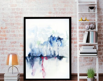 Leaves and Roots, LARGE art, bright color poster, abstract art, watercolor art,  blue painting, modern abstract, minimalist print