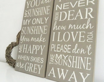You are my sunshine my only sunshine you make me happy when skies are grey, wall art, Shabby Chic, painted in Annie Sloan