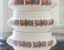 Set of Three Vintage French Lion's Head Porcelain Soup Bowls, Footed Bowls, Made in France