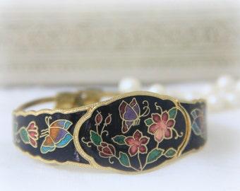 Vintage Gold Metal Black Enameled Bracelet, Flower and Butterfly Decor