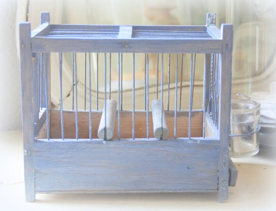 Vintage Blue Small Wooden Bird Cage with Two Glass Feeder Cups, Great Home Decor