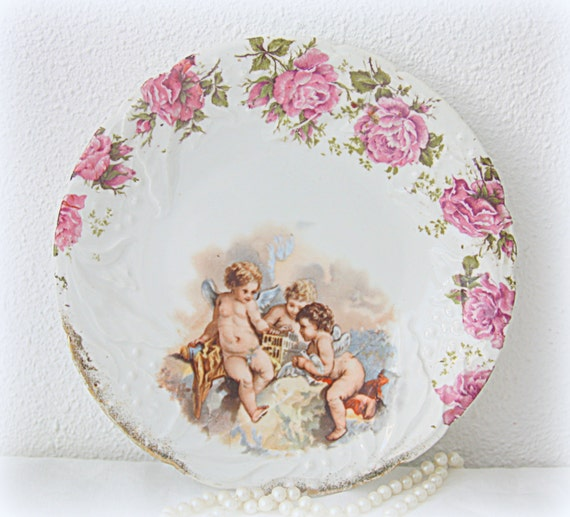 Set of Two Antique Porcelain Plates, Serving Plates, Handpainted Roses and Cherub Decor, Textured, Karlsbad Austria