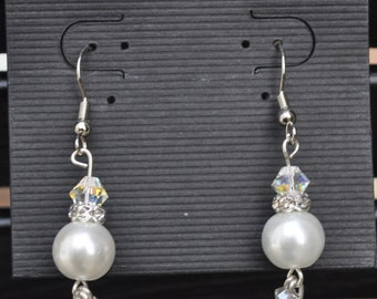Handmade Pearl and Crystal Dangle Earrings