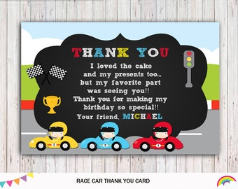 Race Car Thank You Card Printable Birthday, Race Car Party Supplies, Race Car Printable, Race Car Thank You Tags, Race Car Birthday Party