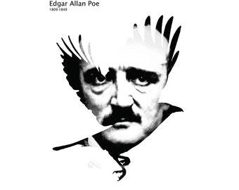 Edgar Allan Poe Poster, Literature Poster, Digital Print, Edgar Allan Poe Art, Black and White Poster, Literary Art, Literary Gift