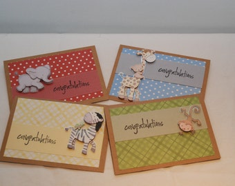 Set of 4: Congratulations cards--for baby showers, gifts, baptism--featuring baby animals--Giraffe--Elephant--Monkey--Zebra