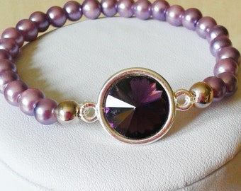 Lilac Pearls and Crystal Stretch Bracelet