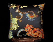 "Claridge black paisley pillow cover, 19""x19"", satin jacquard throw pillow, luxury decorative pillow"