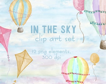 Hot air balloons clipart set watercolor hot air balloons flying kite elements pastel baby blue lilac pink yellow pastel watercolor clip art