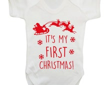 It's my first Christmas baby vest grow father christmas xmas festive santa sleigh bells reindeers rudolph 1st red pink gold blue green 938