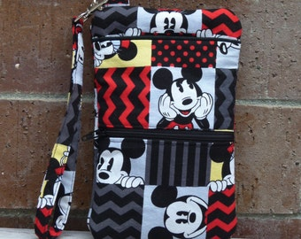 Mickey and Minnie iPhone 6 or 6 Plus Black & Red Wristlet Wallet; Wristlet Pouch; Cell Phone Wristlet; Cell Phone Purse; Clutch