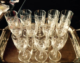 Wine Glasses//Glasses//Drinking Glasses//French Vintage//French Wine Glasses//Blanc De Mer//Found And Flogged
