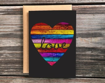Rainbow Pride Love Greeting Card, Wooden Heart Shape Art Card