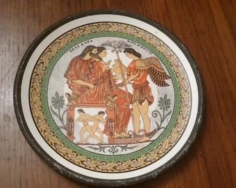 60s Vintage Terra Cotta Greek Plate / Decorative Plate / Collectible Plate / Gods / Goddesses / Goddess / Pottery Plate / CIJ /Egyptian/Rare