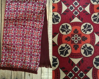 Vintage 50s 60s Burgundy Reversible Wool Scarf Tile Print Dapper Mod Geometric