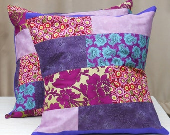 Pair of Purple Patchwork Cushion Covers