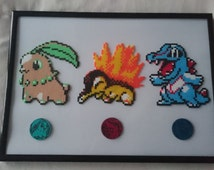 Pixel Mini Hama/Perler Bead Pokemon Generation 2 Starters: Chikorita, Cyndaquil and Totodile with Coins (Framed)