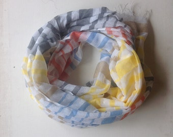 Pink aqua yellow and orange gauze cotton stripes scarf for for women.