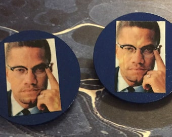 Malcolm X Earrings (Blue Posts)