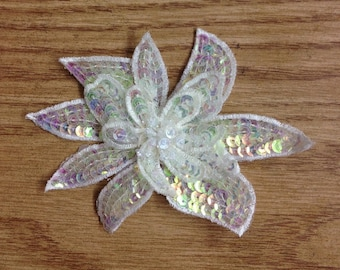2 Pieces Clear AB or Pale Pink Sequined Flower Applique Millinery Sewing Supplies