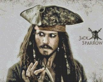Jack Sparrow cross stitch pattern pdf chart - 250 x 180 stitches with AIDA 14 - embroidery, needlepoint, needlecraft V167
