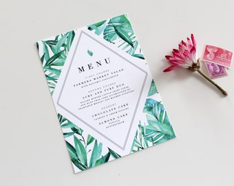 Custom Wedding Menu Card   DIY Printable PDF or Handmade, Tropical Wedding Menu, Destination Wedding Menu, Botanical Menu, Custom Menu