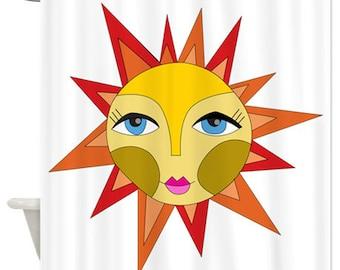 Sun Shower Curtain, Home Decor,Bath Decor, Shower Curtain, Sun, Cute Sun, Doodle, Bath Shower, Weather, Sunny, Sunshine Shower Curtain, Hot