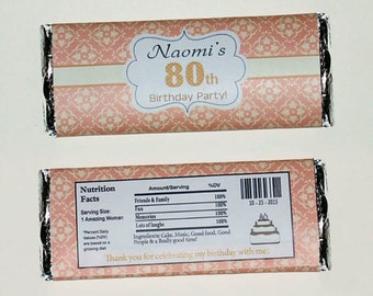 Personalized Peach, Ivory Birthday Candy Bar Wrapper