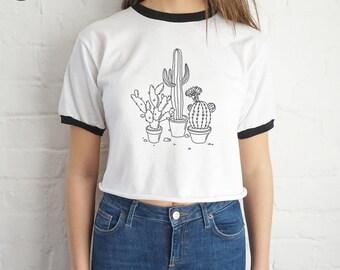 Cactus Drawing Crop Ringer Top Shirt Tee Cropped Fashion Blogger Tumblr Boho Bohemian Plants