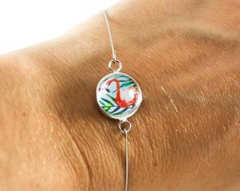 THIN BRACELET - Flamingo - Coral Green - Tiny Jewelry - Fastener Free - Glass Cab  - Silver Plated - Flamingo - Minimalist Bracelet - Kitsch