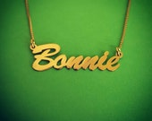 Gold Name Necklace / 14 k Gold Name Necklace / Name Locket Design In Gold / Bonnie Name Necklace / Name On Necklace / Necklace With Name