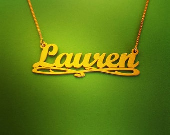 Solid Gold Name Necklace Double Thickness Upgraded/ Lauren Style Any Name / Solid Gold Name Necklace / Personalized Necklace / Gold Necklace
