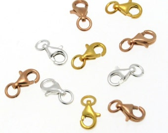 5 Sterling Silver Lobster Claw Clasps, Sterling Silver Trigger Clasp, available in three finishes made in Europe